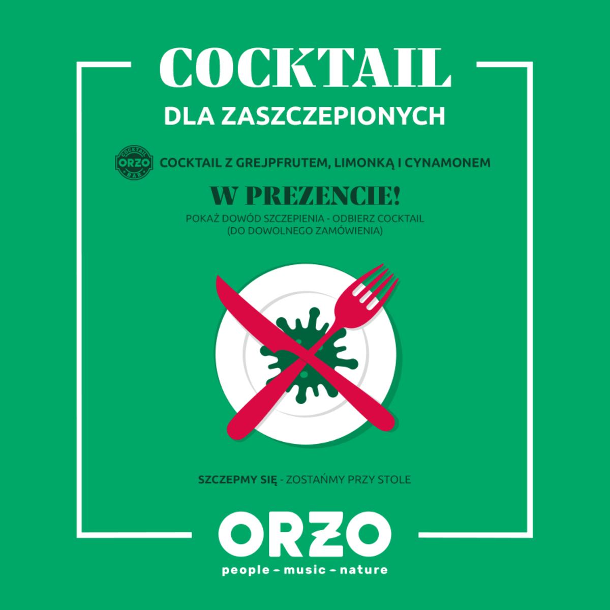 Darmowe koktajle dla zaszczepionych w Orzo