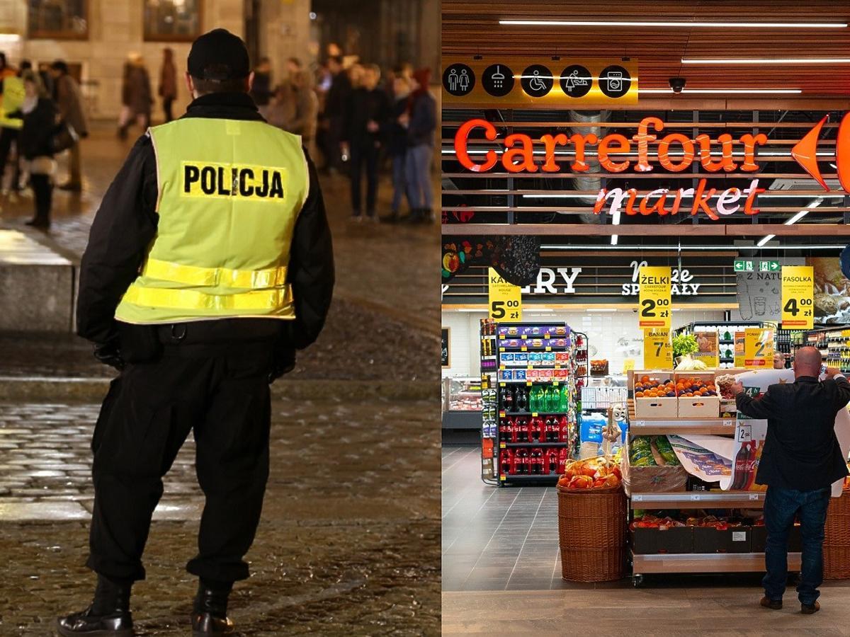 Horror w spożywczaku. Wszedł do Carrefoura w stroju policjanta, groził kasjerce siekierą