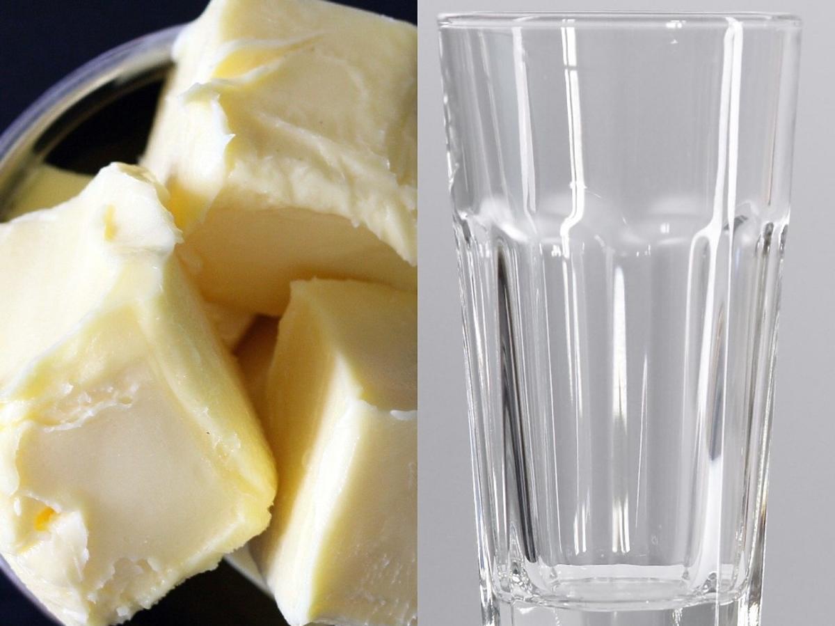 """Jak sprawdzić faktyczną zawartość """"masła w maśle""""? Wystarczy 1 prosty trik. Potrzebna wam będzie szklanka"""